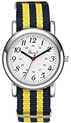Unisex Men's Women White Dial Analog Japanese Quartz Movement Watches Yellow Dark Blue Nylon Band Strap