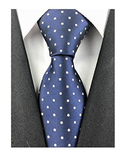 Blue Polka Dot Necktie - Mens Designer Ties Navy Blue Polka Dot Trendy Silk Ties Fun Casual Design Business Necktie