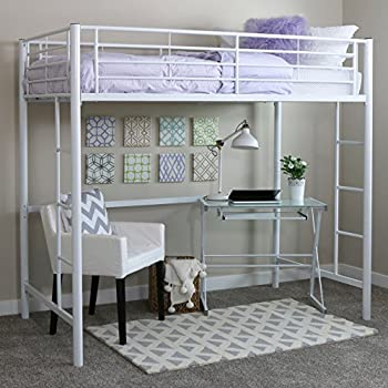 new twin loft metal bunk bed ladder white finish with desk and stairs full plans