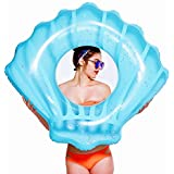 NAKORNO Inflatable Swim Rings, Shell Shape Swim Tube, Funny Pool Floats or Summer Outdoor Beach Toy for Adults Kids, Giant Pool Party Ring Vacation Swimming Circle 45 x 35 x 12inches (Blue)
