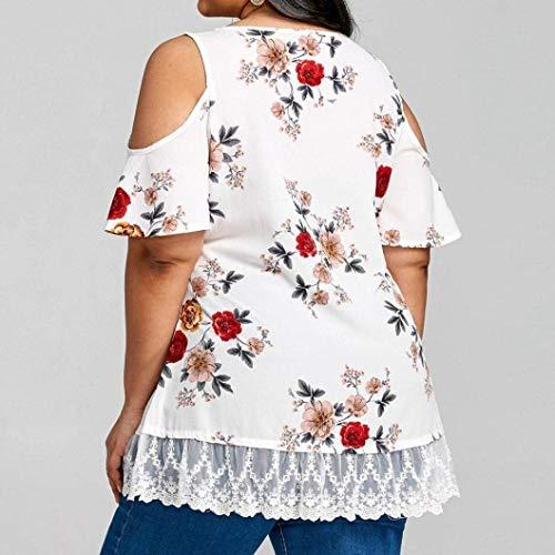 Tops Et Cou Dentelle Grande Shirt Bretelles pissure Mousseline Blouse Spcial Style Fashion Fleur sans Femme Blanc Elgante Vintage Courtes Taille Sangle Motif Haut Manches V Dsinvolte wqXxPtYxB