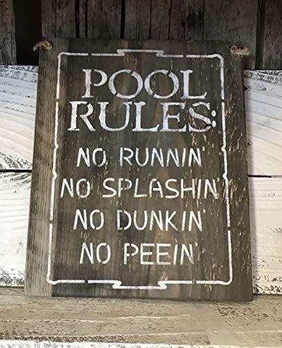 Pool Rules Barn Wood Plaque