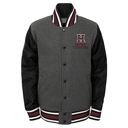 (Outerstuff NCAA Harvard Crimson Youth Boys Letterman Varsity Jacket, Medium (10-12), Charcoal)