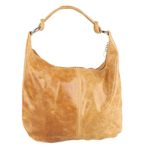 Italy in in 45x35x4 Leather Shoulder Large Handle Made with Genuine Borse Cm Tan Leather Bag Chicca Woman qPwgf1