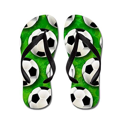 Cafepress Fotboll Fotboll Mönster - Flip Flops, Roliga Rem Sandaler, Strand Sandaler Svart