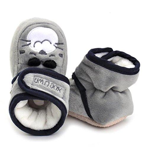 Clode® Neugeborene Säuglingsbaby Mädchen Karikatur Krippe Schuhe weiche alleinige Anti Rutsch Stiefel Grau