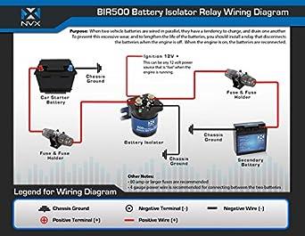Amazon.com: NVX 500 Amp Mobile Audio Relay Battery Isolator | Battery Isolation Solenoid Wiring Diagram |  | Amazon.com