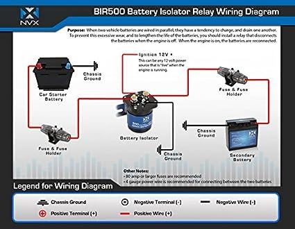 Amazon.com: NVX 500 Amp Mobile Audio Relay Battery Isolator   Battery Isolator Relay Wiring Diagram      Amazon.com
