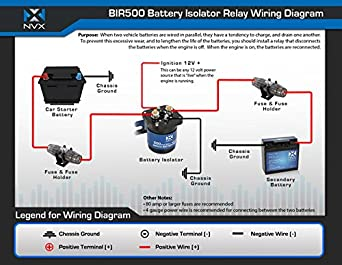 amazon com nvx 500 amp mobile audio relay battery isolator bir500 rh amazon com Sure Power Battery Isolator Wiring Dual Battery Isolator Wiring-Diagram
