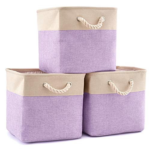 EZOWare - Cesta plegable de almacenamiento para cubos de basura (3 unidades, plegable, lona, con asas, para clóset de...