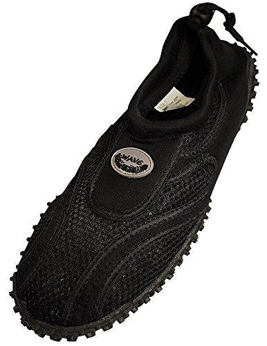 Women's Wave Water Shoes Pool Beach Aqua Socks,Yoga, Exercise (7, Black/Black)