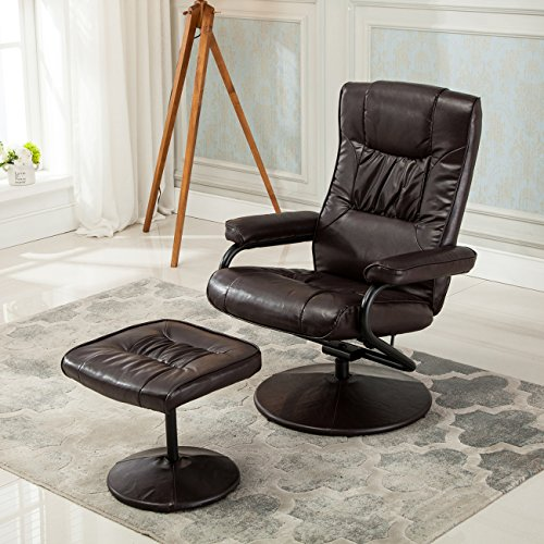 Belleze Contemporary Bonded Leather Recliner and Ottoman Set, Reclining Chair, (Faux Leather Coaster Set)
