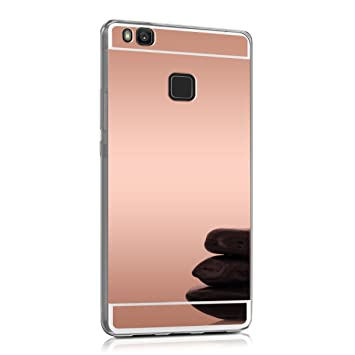 huawei p9 rose gold price. kwmobile mirror case for huawei p9 lite tpu silicone handy cover, protective cover in rose gold price