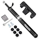 Cycloving Bike Pump & Glueless Puncture Repair Kit, Fits Presta & Schrader, 120 PSI 9.6 Inches Mini Bicycle Tire Pump for Hybrids, Road, Mountain, BMX Bikes, Sports Ball and Emergencies