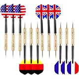 Ohuhu Tip Darts with National Flag Flights (4 Styles)-Stainless Steel Needle Tip Dart with Extra Free PVC Dart Rods