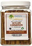 "Indus Organics Real Ceylon (Sri Lanka) Cinnamon 3"" Sticks, 8 Oz Jar, Premium Grade, Hand Selected, Freshly Packed"