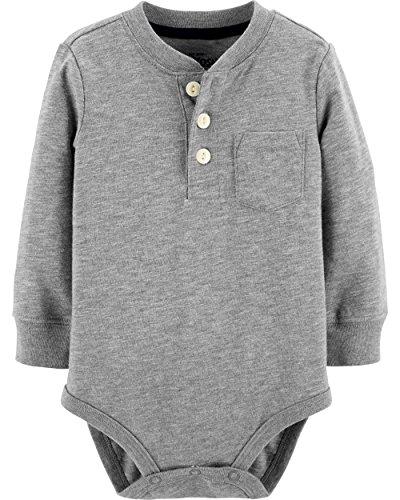 Baby Henley - Osh Kosh Baby Boys' Pocket Henley Bodysuits, Grey, 9-12 Months