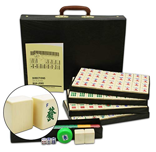 Mose Cafolo Chinese Mahjong X-Large 144 Numbered White Ivory Color Melamine Tiles 1.6 Inch Large Tile with Black Carrying Travel Case Pro Complete Game Set -( Majiang,Mah Jong, Mahjongg, Mah-Jong)