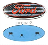 ford f350 emblem - Gosweet F-9Q International Truck USA Flag Ford 2004-2014 F150 F250 F350 Edge Explorer Front Grille/Tailgate (No camera) Emblem Oval Decal Badge Nameplate 9