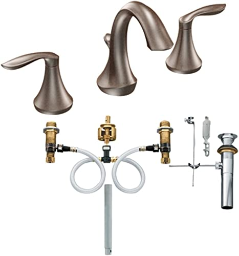 Moen T6420ORB-9000 Eva Two-Handle High Arc Bathroom Faucet with Valve, Oil Rubbed Bronze