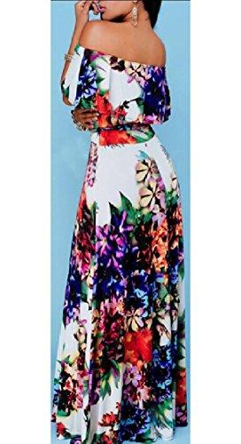 Jaycargogo Femmes Hérissent De L'épaule Maxi À Long Imprimé Floral Robe De Soirée Comme Image