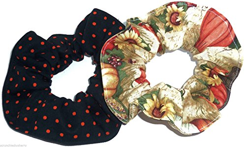 Halloween Scrunchie (Halloween Pumpkins Fall Harvest Orange Black Polka Dots Fabric Hair Scrunchie Handmade by Scrunchies by Sherry Set of 2)