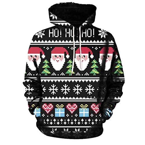 KYLEON_Christmas Coat Christmas Couples Men Women Mode 3D Print Long Sleeve Hoodies Top Blouse Shirts