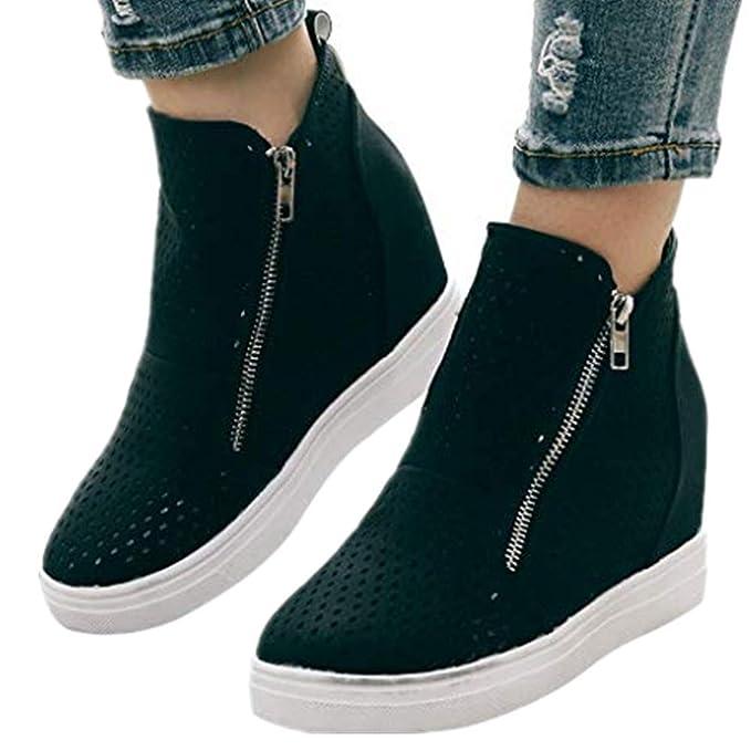 35626aa594456 Amazon.com: Women's Platform Sneakers,Hidden Wedges Heel Suede High ...