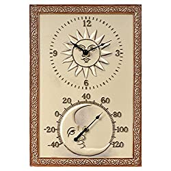 Chaney Instruments Sun & Moon 10 in. Wide Thermometer Wall Clock