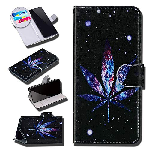 Urhause Case Compatibel met Galaxy A70 Case Glossy PU Lederen Portemonnee Cover met Kaartsleuven Cover Marihuana Cartoon…