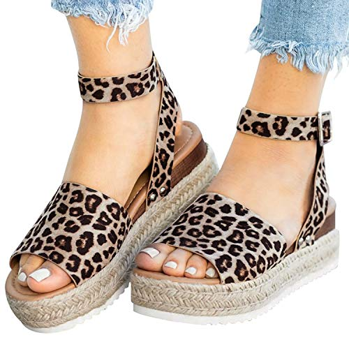 (XMWEALTHY Women's Ankle Strap Platform Wedges Sandals Casual Open Toe Espadrilles Sandals for Summer Leopard US 6)