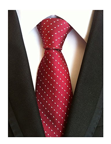 Men's Solid Color Ties Jacquard Patterned Formal Business Necktie Various Colors (One Size, Burgundy Red)