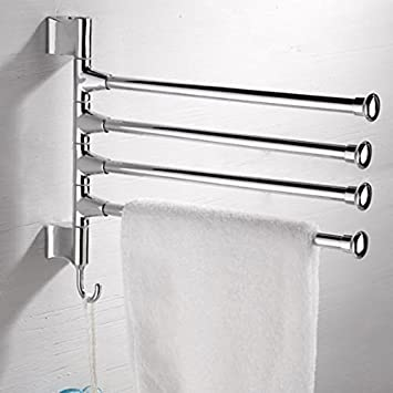 Towel Holder 4 Swivel Bar Stainless Steel Toilet Wall Mount Rack Hanger