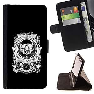 Momo Phone Case / Flip Funda de Cuero Case Cover - Cráneo negro abstracto blanco Engranajes - LG Nexus 5 D820 D821