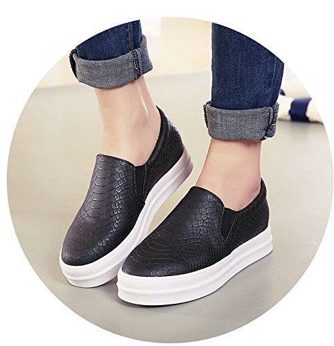 Maybest Vrouwen Meisjes Flats Slip Op Loafers Mode Casual College Comfort Schoenen Skate Schoen Zwart