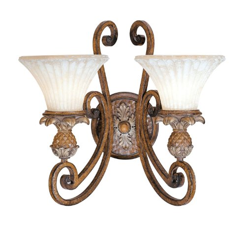 Livex Lighting 8452-57 Wall Sconce with Vintage Carved Scavo Glass Shades, Venetian Patina (Lamp Wall Venetian)