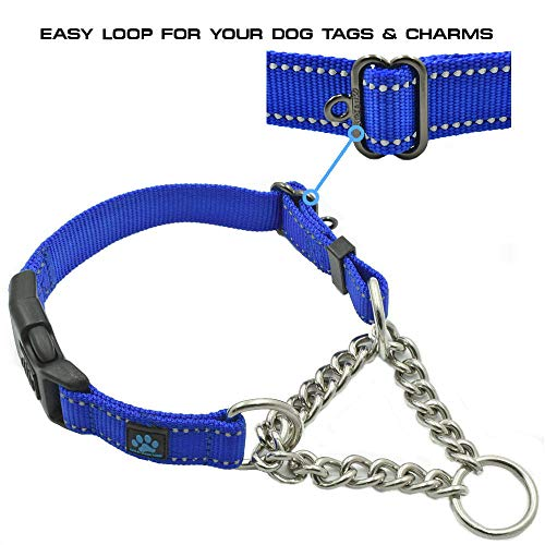 Max and Neo Stainless Steel Chain Martingale Collar - We Donate a Collar to a Dog Rescue for Every Collar Sold (Medium, Pink)