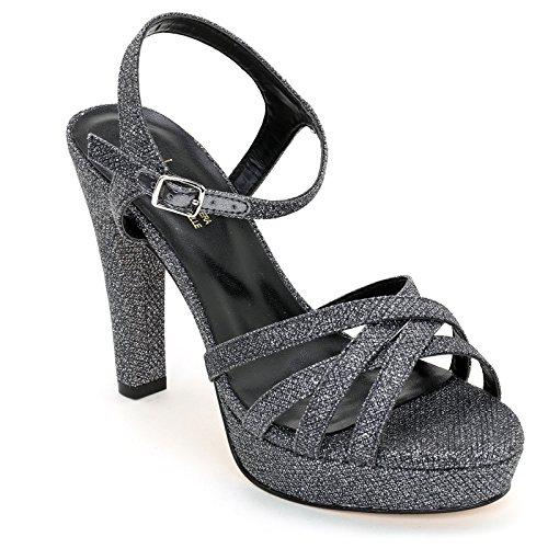 Effetto Argento Alesya Tacco Cinturino 11 Alti e amp;Scarpe cm con Sandali con Alla Lurex Scarpe Caviglia XgXaFZ