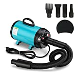 Gelinzon Pet Dog And Cat Grooming Hair Dryer 2 Speed Adjustable Temperature Grooming Blower With Heater (Blue)