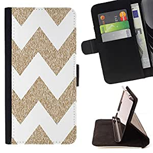 Dragon Case - FOR HTC DESIRE 816 - Brown and white big waves - Caja de la carpeta del caso en folio de cuero del tirš®n de la cubierta protectora Shell
