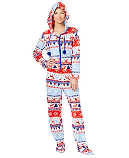 574996983468 Pj Couture Hooded Footed Christmas Jumpsuit Pajamas L Multi at ...
