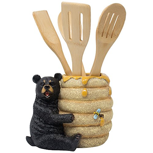 Bear Bee Honey (Decorative Black Bear in a Beehive Honey Pot Countertop Utensil Holder Crock Display Stand Table Statue for Cabin or Rustic Lodge Decor and Gourmet Kitchen Decorations As Housewarming Gifts)