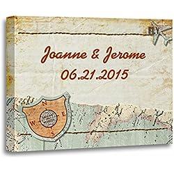 """TORASS Canvas Wall Art Print Boarding Travel Map Party Pass Passport Wedding Ticket Artwork for Home Decor 12"""" x 16"""""""