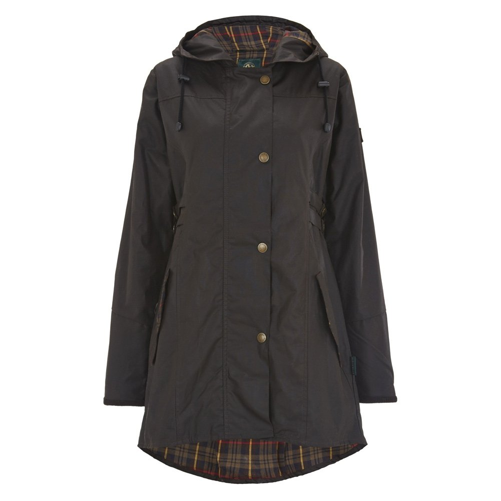 Celtic and Co Womens Wax Riding Style British Made Rain Coat - Dark Brown - Size 14 by Celtic & Co