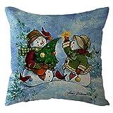 Pgojuni Throw Pillow Cases Christmas Linen Sofa Throw Cushion Cover Home Decor 1pc 45cmx45cm (Q)