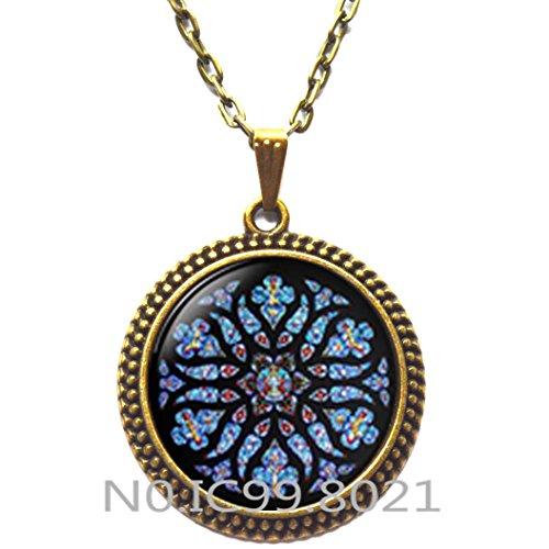 FashionNecklaceFashionPendant,Rose Window Pendant, Gothic Cathedral, Gothic style necklace, gothic rose window, gothic rose Pendant, Catholic, Christian -
