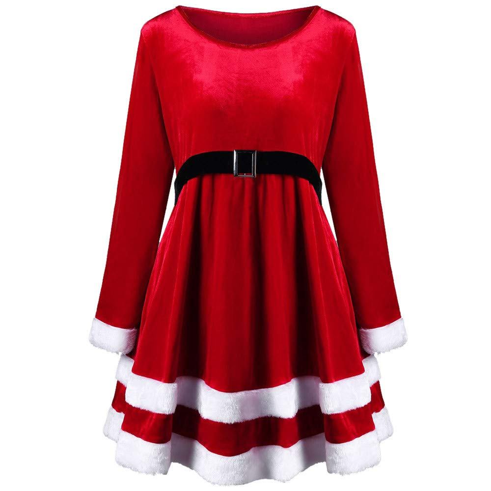Red Christmas Dress, Women Santa Costume Mini Skirt Fancy Cosplay Suit Velvet Long Sleeve O-Neck Festival Dress