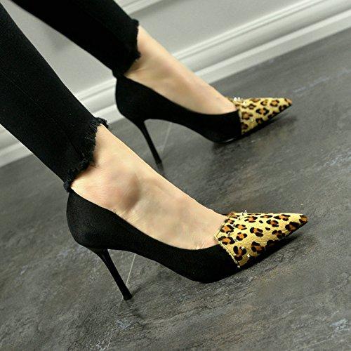 SFSYDDY Europa y la gama de mareas de leopardo punta remache lucha entre caballos zapatos de tacón alto hembra fino con zapatos sexy, Thirty-four Thirty-seven