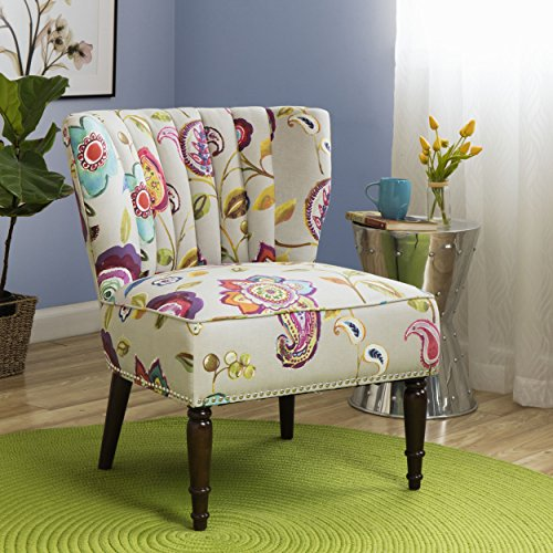 Tori 100-Percent Cotton Vibrant Floral Pattern Multi Color Upholstered Channel Back Accent Chair