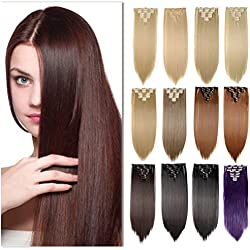 "8Pcs 26"" Long Straight Real Thick Full Head 17 Color 18 Clips Clip in Hair Extensions(26""-Straight, Dark Black)"
